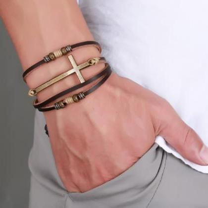 Genuine Real Leather Cross Bracelet..