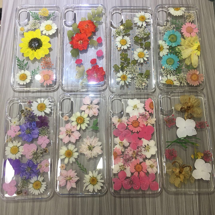 Handmade Dried Real Flower Case Clear Pressed Soft Cover for iPhone 6 6s 7 8 Plus X XS XR XS MAX