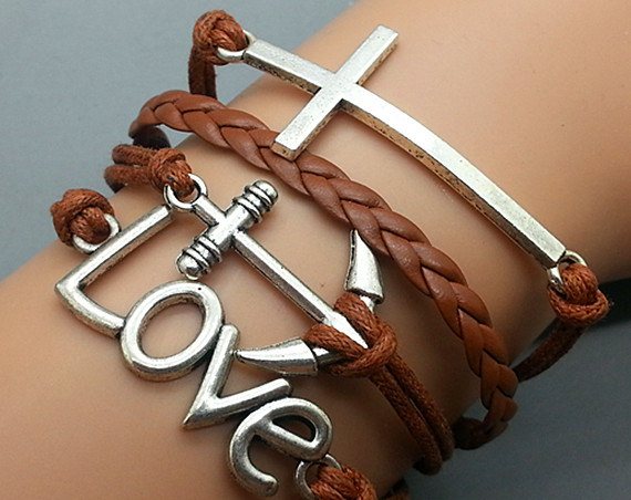 Cross Love & Anchor Bracelet Charm Bracelet Silver Bracelet brown Wax Leather Charm Bracelet Personalized Bracelet