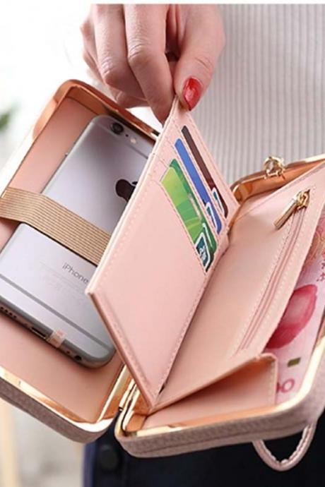 Women's Fashion PU Leather Bowknot Long Design Wallet Ladies Handbag Day Clutch Bag
