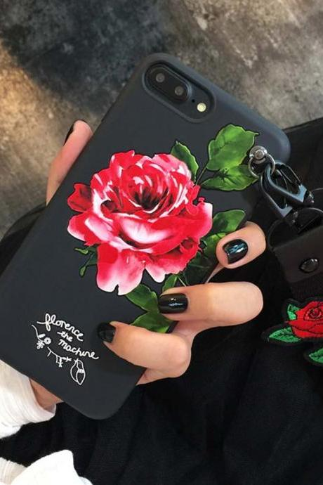 Luxury Flower Silicone Phone Cae Cover for iPhone 6 6s 7 7 Plus 8 8 Plus With Embroidered Rose Flower Wristbands
