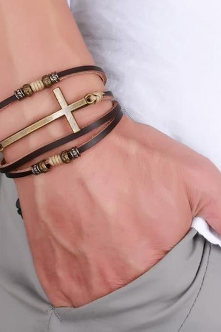 Genuine Real Leather Cross Bracelets & Bangles For Women Men Jewelry Gift