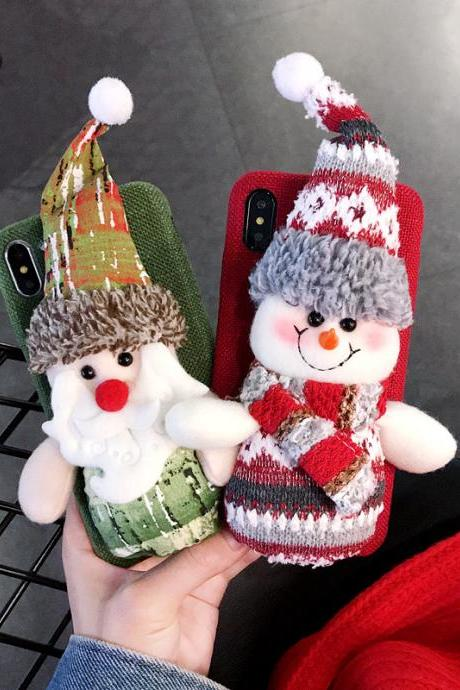 Luxury Santa Claus Warm Fur Phone Case Cover for iPhone 6 6s 7 8 Plus X XS XR XS MAX