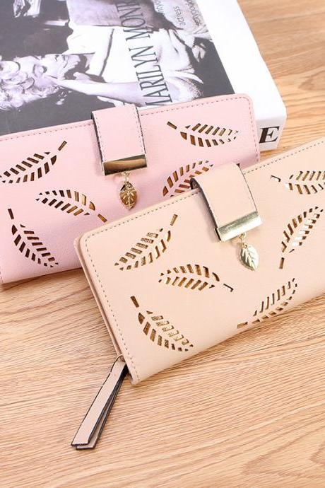 New Fashion Women's Leather Long Wallet Purse Hollow Leaves Pouch Handbag Coin Card Money Phone Holder Female Clutch