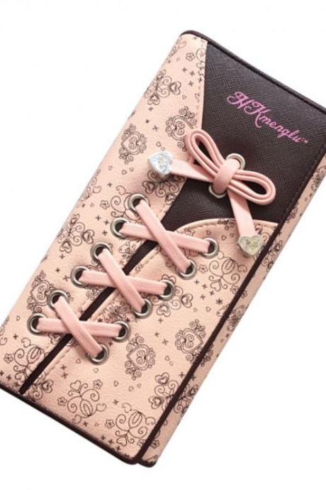 Women's Fashion Leather Wallets Coin Money Cards Purse Lovely Bow Female Clutch