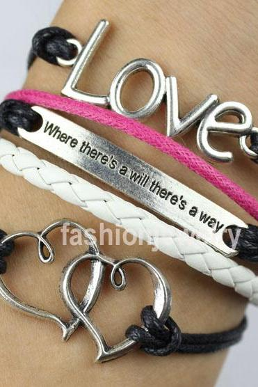 Love Bracelet,Double Hearts Bracelet,Motto ( where there's a will there's a way) bracelet-mixed colors charm bracelet,vintage bracelet girlfriend gift