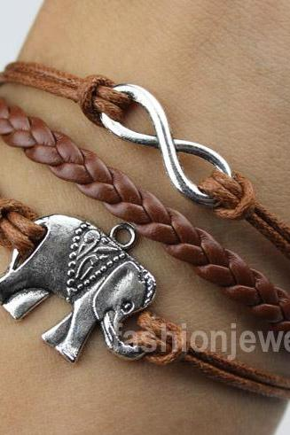 Infinity Bracelet Elephant Bracelet-Silver Charm Bracelet,Brown Leather Ropes Bracelet Christmas Gift Friendship Gift