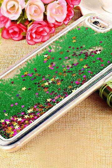 Transparent Plastic 3D Glitter Quicksand and Star Liquid Case Cover for iPhone 4 4S 5 5S 6 6S Plus ans Samsung Galaxy S6 S7 Note Case