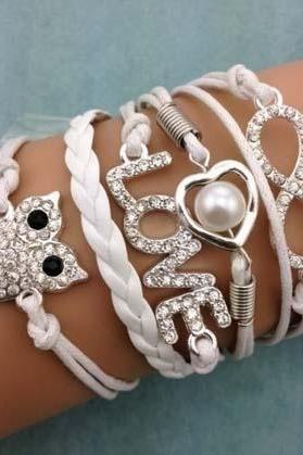 White Handmade Multilayer Leather Rhinestone Infinity Love Owl Heart Pearl Charm Bracelet