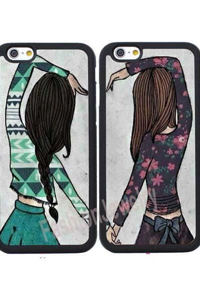 2X BFF Girls Couple Cases for iPhone XS MAX XR XS X 8 7 6 6S Plus 5 5S SE 4 4S