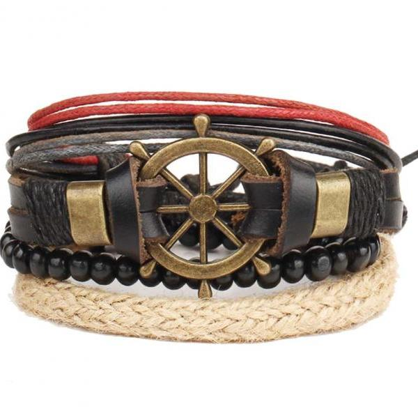4PCS/Set New Fashion Rudder Charm Bracelet Punk Bracelet Women Men's Leather Bracelet &Bangles