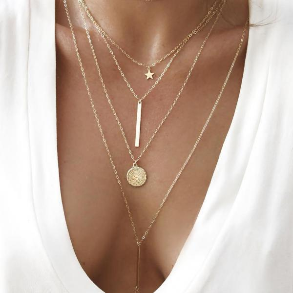 New Fashion Pentagram Chain Necklace Gold Color Multilayer Necklaces for Women Girls