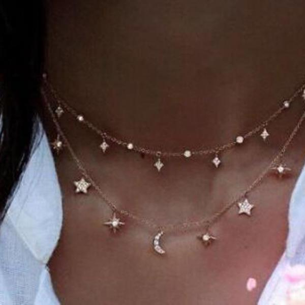 Women's Fashion Multilayer Star Moon Pendant Necklace Choker Jewelry Gift