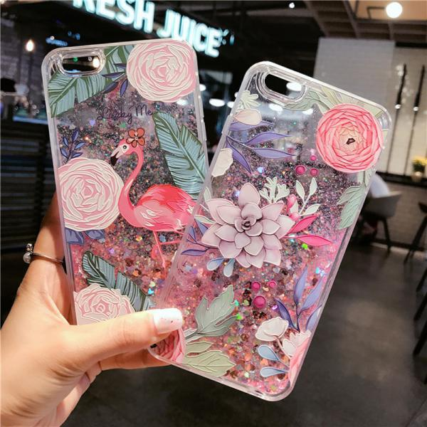 New Fashion Cute Cartoon Flamingos Liquid Quicksand Glitter Case Cover for iPhone XS MAX XR XS X 8 7 6 6S Plus
