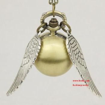 Harry potter Snitch Wrist Watch, Silver ball pocket watch, wings, style restoring ancient ways man pocket watch