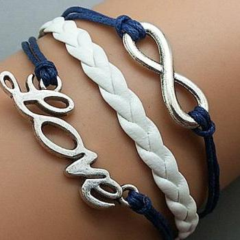 Infinity & Love Bracelet Silver Charm Bracelet Navy blue Wax Cords White Leather Charm Bracelet Personalized Bracelet
