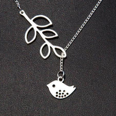 Antique Silver Bird, Branch Necklace Birthday gift, Christmas gift